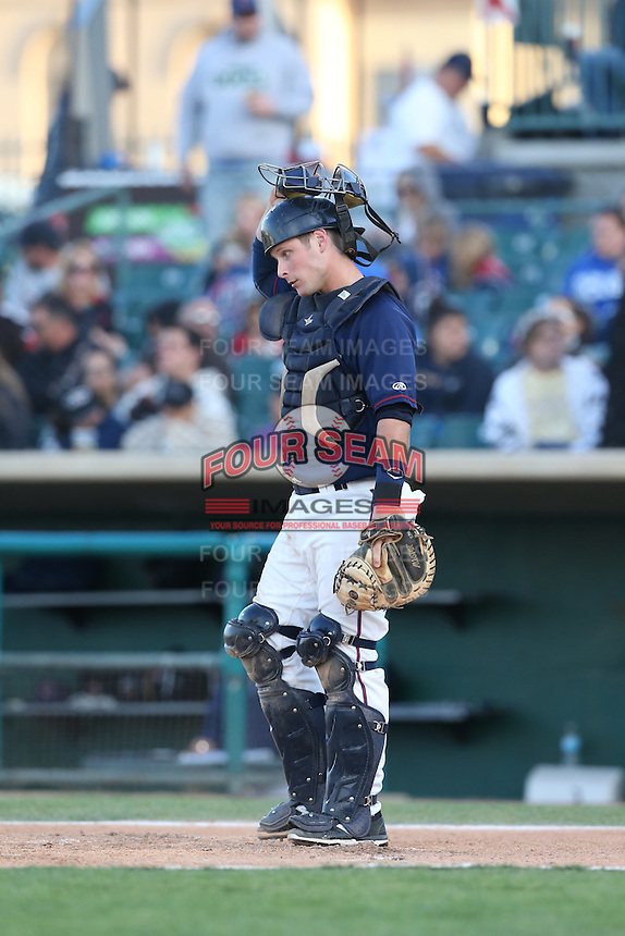 Brian Holbertson (10) of the Lancaster JetHawks during a game against the San Jose Giants at The Hanger on April 11, 2015 in Lancaster, California. San Jose defeated Lancaster, 8-3. (Larry Goren/Four Seam Images)