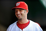 10 July 2008: Washington Nationals' third baseman Kory Casto smiles in the dugout during a game against the Arizona Diamondbacks at Nationals Park in Washington, DC. The Diamondbacks defeated the Nationals 7-5 in 11 innings to take the rubber match of their 3-game series in the Nation's Capitol...Mandatory Photo Credit: Ed Wolfstein Photo