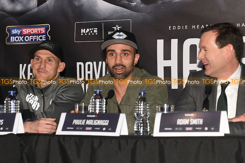 Boxer Paulie Malignaggi speaks during a Matchroom Boxing Press Conference at The O2 on 2nd March 2017