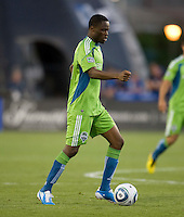 Steve Zakuani of Sounders in action during the game against the Earthquakes at Buck Shaw Stadium in Santa Clara, California on July 31st, 2010.   Seattle Sounders defeated San Jose Earthquakes, 1-0.