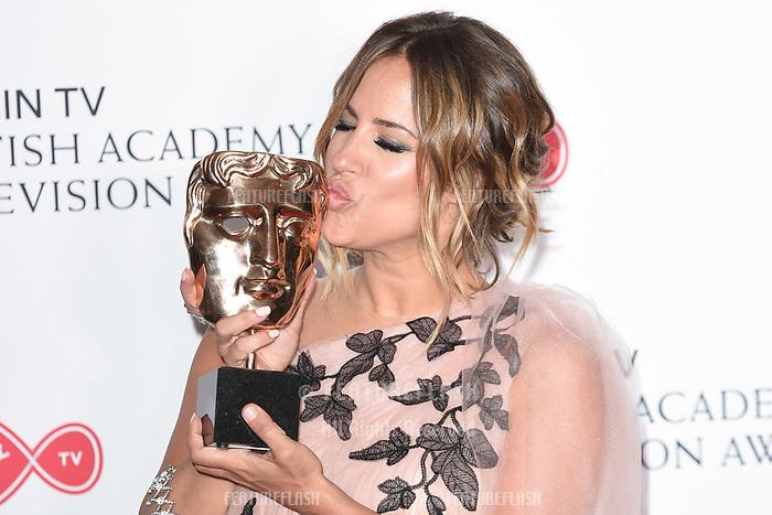 Caroline Flack in the winners room for the BAFTA TV Awards 2018 at the Royal Festival Hall, London, UK. <br /> 13 May  2018<br /> Picture: Steve Vas/Featureflash/SilverHub 0208 004 5359 sales@silverhubmedia.com
