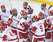 The Wisconsin Badgers break their pre-game huddle. The Boston College Eagles defeated the University of Wisconsin Badgers 3-0 on Friday, October 27, 2006, at the Kohl Center in Madison, Wisconsin in their first meeting since the 2006 Frozen Four Final which Wisconsin won 2-1 to take the national championship.<br />