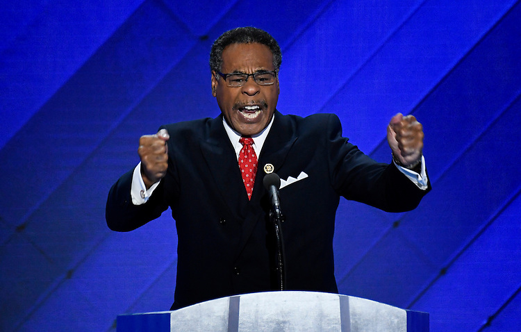 UNITED STATES - JULY 28: Rep. Emanuel Cleaver, D-Mo., speaks at the Democratic National Convention in Philadelphia on Thursday, July 28, 2016. (Photo By Bill Clark/CQ Roll Call)