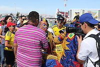 Santa Clara, CA - Friday June 03, 2016: A Colombia fan is interviewed prior to a Copa America Centenario Group A match between United States (USA) and Colombia (COL) at Levi's Stadium.