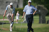 Peter Lawrie and Marc Warren wait to putt on the 14th green during the first round of the 2008 Irish Open at Adare Manor Golf Resort, Adare,Co.Limerick, Ireland 15th May 2008 (Photo by Eoin Clarke/GOLFFILE)