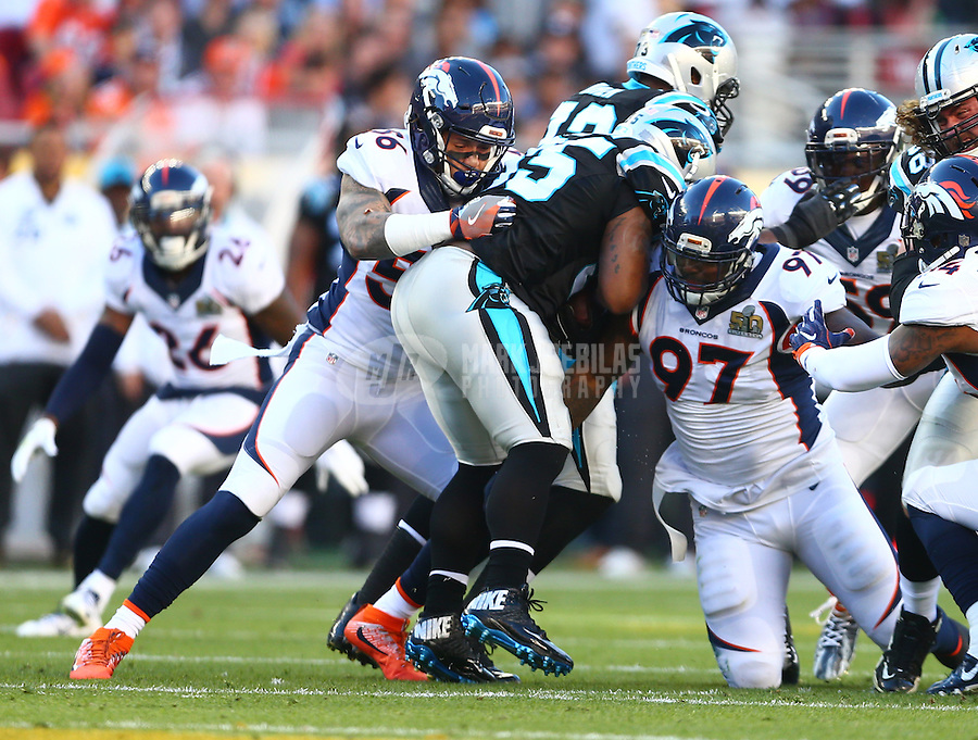 Feb 7, 2016; Santa Clara, CA, USA; Denver Broncos linebacker Shane Ray (56) and defensive tackle Malik Jackson (97) tackle Carolina Panthers fullback Mike Tolbert (35) in Super Bowl 50 at Levi's Stadium. Mandatory Credit: Mark J. Rebilas-USA TODAY Sports