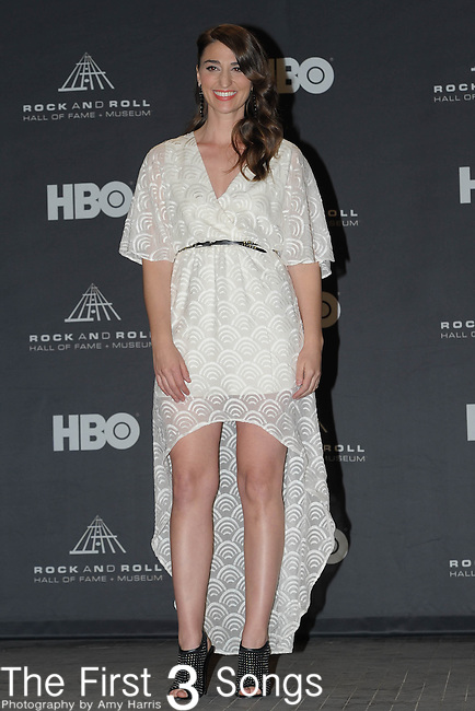 Sara Bareilles in the press room of the Rock & Roll Hall of Fame Induction Ceremony in Cleveland, Ohio on April 14, 2012.