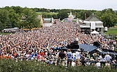 "Sept. 1, 2012.""The overview of a campaign rally in Urbandale, Iowa. This view was from a scissors lift just above the press stand."" .Mandatory Credit: Pete Souza - White House via CNP"