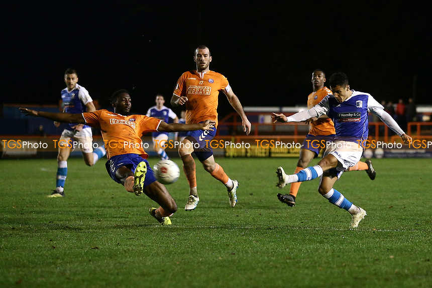 Tyler Smith of Barrow goes close to a goal during Braintree Town vs Barrow, Vanarama National League Football at the IronmongeryDirect Stadium on 1st December 2018