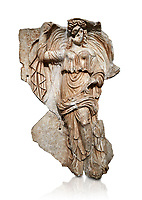 Roman Sebasteion relief sculpture of the goddess Herma (day), Aphrodisias Museum, Aphrodisias, Turkey.  Against a white background.<br /> <br /> Goddess  Herma or Day steadies a dramatically billowing cloak that frames her head. The motif , also visible on the Okeanos relief, indicates flying, floating and divine epiphany - the appearance of gods to mortals. Day would be paired with night : together they signify the eternity of the Roman imperial order.