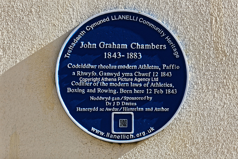 Pictured: A blue plaque for John Graham Chambers at Llanelly House or Plas Llanelly in the town centre. Wednesday 09 March 2018<br /> Re: The effect that the Scarlets RFC has had in the town of Llanelli in Carmarthenshire and the west Wales region.