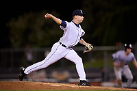 Connecticut Tigers relief pitcher Dylan Stock (55) delivers a pitch during a game against the Hudson Valley Renegades on August 20, 2018 at Dodd Stadium in Norwich, Connecticut.  Hudson Valley defeated Connecticut 3-1.  (Mike Janes/Four Seam Images)