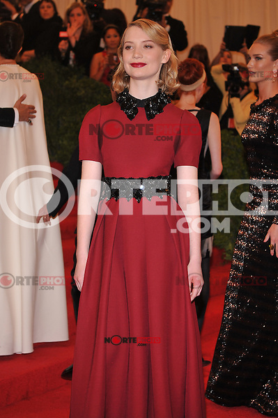 Mia Wasikowska at the 'Schiaparelli And Prada: Impossible Conversations' Costume Institute Gala at the Metropolitan Museum of Art on May 7, 2012 in New York City. © mpi03/MediaPunch Inc.