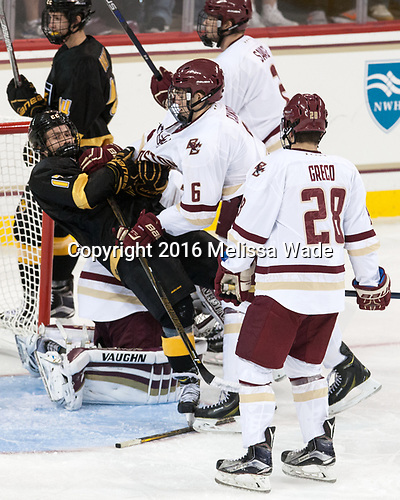 Westin Michaud (CC - 17), Michael Campoli (BC - 6) - The Boston College Eagles defeated the visiting Colorado College Tigers 4-1 on Friday, October 21, 2016, at Kelley Rink in Conte Forum in Chestnut Hill, Massachusetts.The Boston College Eagles defeated the visiting Colorado College Tiger 4-1 on Friday, October 21, 2016, at Kelley Rink in Conte Forum in Chestnut Hill, Massachusett.