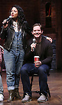 Stephanie Klemons and Rory O'Malley  from 'Hamilton' greet High School students from The Rockefeller Foundation, and The Gilder Lehrman Institute of American History before a 'Hamilton' matinee performance at the Richard Rodgers Theatre on 11/30/2016 in New York City.