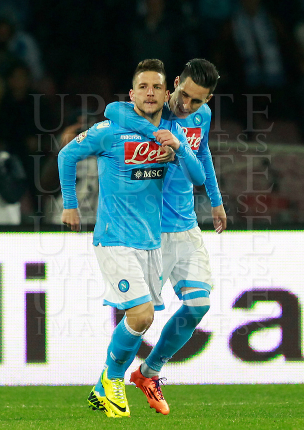 Calcio, Serie A: Napoli vs Juventus. Napoli, stadio San Paolo, 30 marzo 2014. <br /> Napoli forward Dries Mertens, of Belgium, left, celebrates with teammate Jose' Maria Callejon, of Spain, right, after scoring, during the Italian Serie A football match between Napoli and Juventus at Naples' San Paolo stadium, 30 March 2014. Napoli won 2-0.<br /> UPDATE IMAGES PRESS/Isabella Bonotto