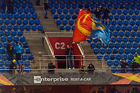 27th February 2020; St Jakob Park, Basel, Switzerland; UEFA Europa League Football, FC Basel versus APOEL Nicosia; An FC Basel fan celebrates after his team wins the match 1-0