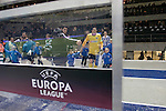 The two team emerging from the dressing rooms before Hertha Berlin (blue) take on Sporting Lisbon in the Olympic Stadium in Berlin in a UEFA Europa League group match. Hertha won the match by 1 goal to nil to press to the knock-out round of the cup. 2009/10 was the the first year in which the Europa League replaced the UEFA Cup in European football competition.