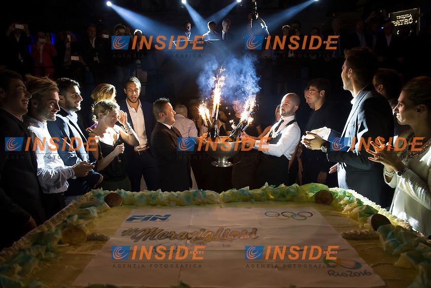 Torta<br /> Roma 27-09-2016 Piper Club  <br /> Serata Meravigliosi organizzata dalla Federazione Italiana Nuoto per festeggiare i risultati delle squadre italiane alle Olimpiadi di rio de Janeiro 2016 <br /> Foto Andrea Staccioli Insidefoto