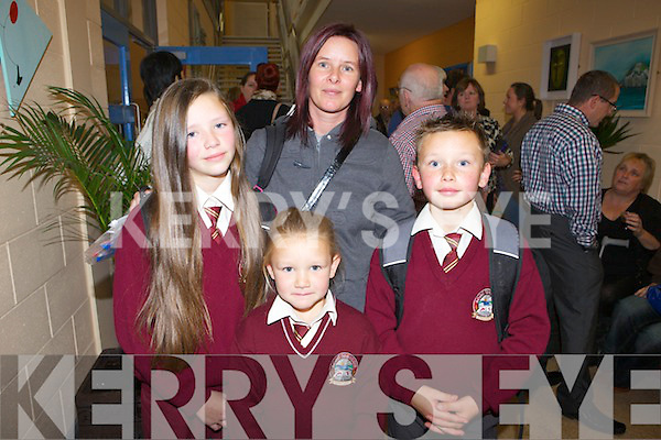 Liz O'Rourke with her children Donna, Sarah and Jerome at the official opening of  Scoil Íosagáin last Monday in Ballybunion.