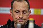 10.03.2018, BayArena, Leverkusen , GER, 1.FBL., Bayer 04 Leverkusen vs. Borussia Moenchengladbach<br /> im Bild / picture shows: <br /> Pressekonferenz (PK) nach dem Spiel,  Heiko Herrlich Trainer (Bayer Leverkusen),<br /> <br /> <br /> Foto &copy; nordphoto / Meuter