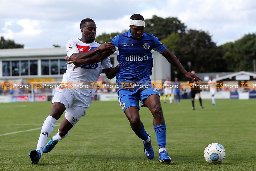 Gavin Hoyte of Eastleigh of Eastleigh and Fejiri Okenabirhie of Dagenham during Eastleigh vs Dagenham & Redbridge, Vanarama National League Football at the Silverlake Stadium on 12th August 2017