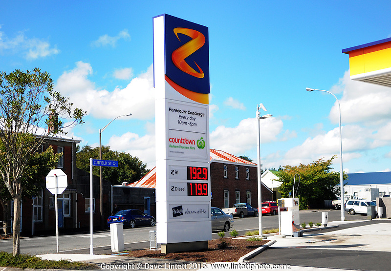 Petrol price sign at Z Service Station, Stratford, New Zealand on Friday, 27 March 2015. Photo: Dave Lintott / lintottphoto.co.nz