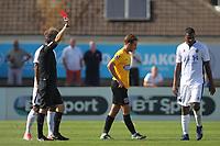 Ben Goodliffe of Dagenham is shown the red card during Boreham Wood vs Dagenham & Redbridge, Vanarama National League Football at Meadow Park on 4th August 2018