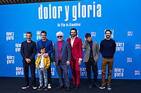 (L-R) Leonardo Sbaraglia, Antonio Banderas,  Asier Flores, Pedro Almodovar, Asier Etxeandia and Raúl Arévalo attend the photocall of the movie 'Dolor y gloria' in Villa Magna Hotel, Madrid 12th March 2019. (ALTERPHOTOS/Alconada) /NortePhoto.con NORTEPHOTOMEXICO