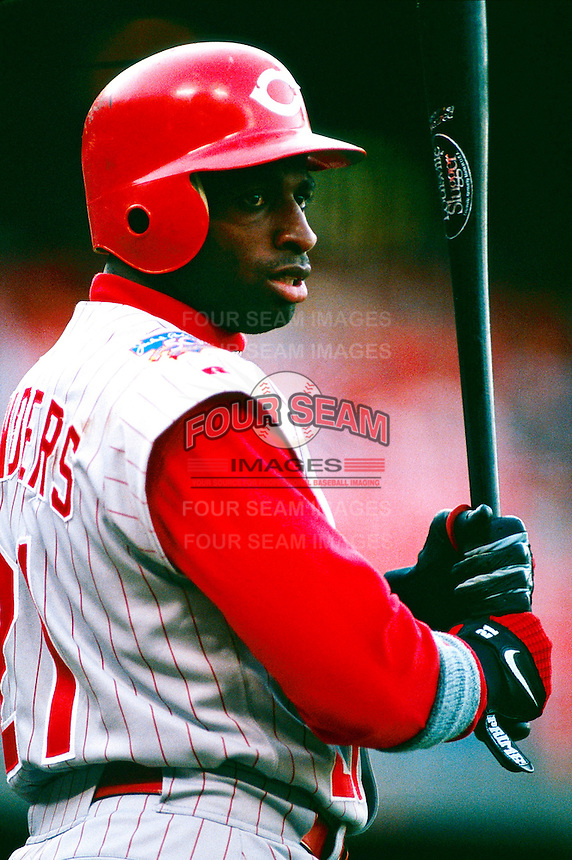 Deion Sanders of the Cincinnati Reds during a game at Dodger Stadium in Los Angeles, California during the 1997 season.(Larry Goren/Four Seam Images)