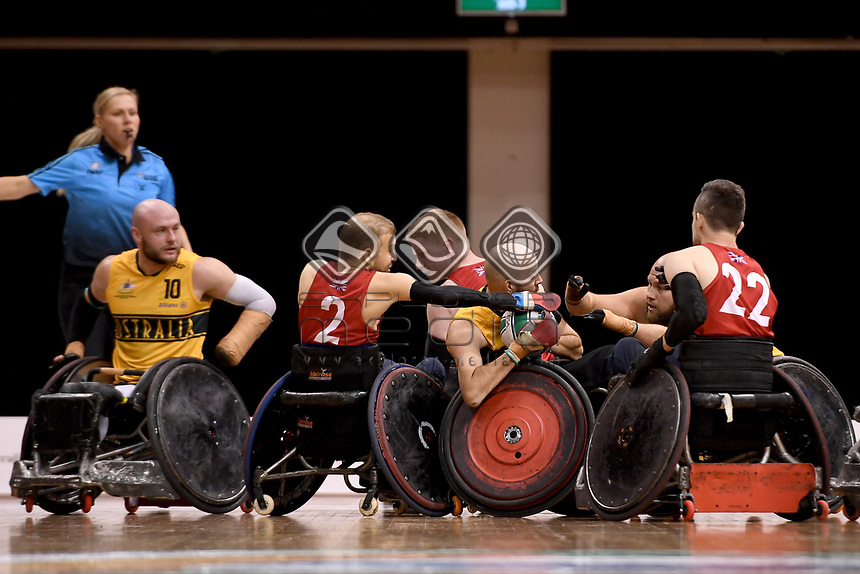 Michael Ozanne (AUS) vs GB<br /> Australian Wheelchair Rugby Team<br /> 2018 IWRF WheelChair Rugby <br /> World Championship / Semi Finals<br /> Sydney  NSW Australia<br /> Thursday 9th August 2018<br /> © Sport the library / Jeff Crow / APC
