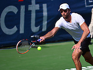 Washington, DC - July 24, 2016: Ivo Karlovic of Croatia   plays a forehand shot during his finals match against Gael Monfils of France in the Citi Open at the Rock Creek Park Tennis Center in the District of Columbia, July 24, 2016.  (Photo by Don Baxter/Media Images International)