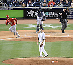 Masahiro Tanaka (Yankees),<br /> APRIL 27, 2014 - MLB :<br /> Pitcher Masahiro Tanaka of the New York Yankees reacts after giving up a home run to David Freese of the Los Angeles Angels who rounds the bases in the sixth inning during the Major League Baseball game at Yankee Stadium in Bronx, New York, United States. (Photo by AFLO)