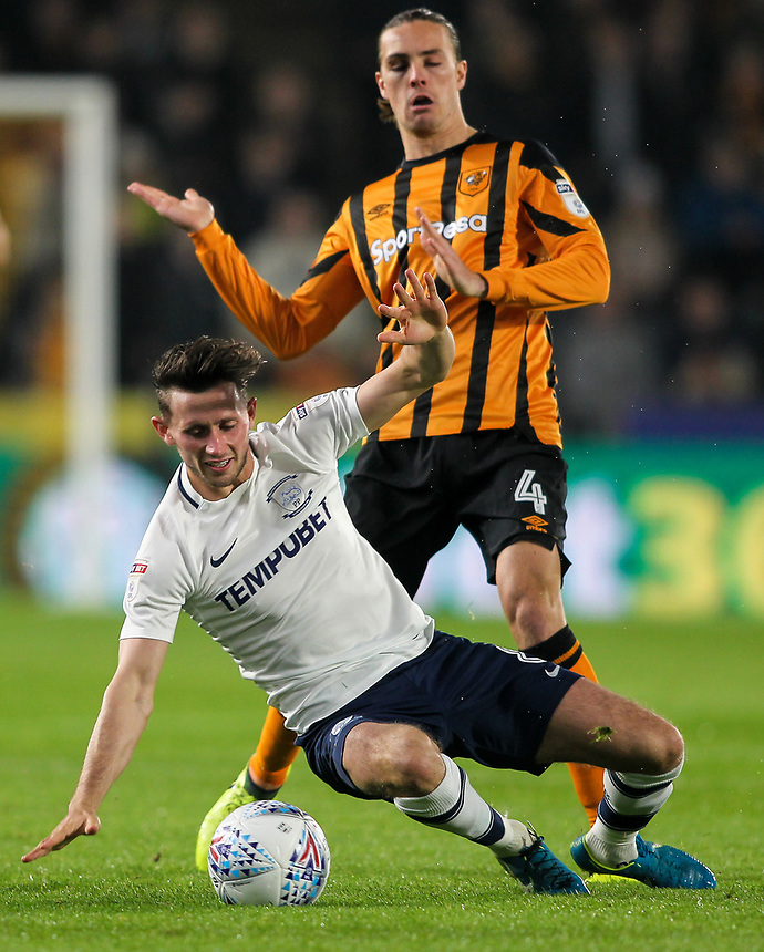 Preston North End's Alan Browne is brought down by Hull City's Jackson Irvine <br /> <br /> Photographer Andrew Kearns/CameraSport<br /> <br /> The EFL Sky Bet Championship - Hull City v Preston North End - Tuesday 26th September 2017 - KC Stadium - Hull<br /> <br /> World Copyright &copy; 2017 CameraSport. All rights reserved. 43 Linden Ave. Countesthorpe. Leicester. England. LE8 5PG - Tel: +44 (0) 116 277 4147 - admin@camerasport.com - www.camerasport.com
