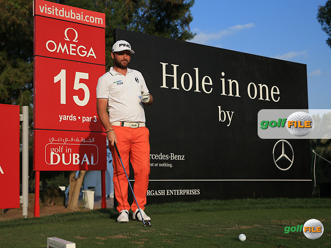 Andy Sullivan (ENG) on the 15th tee during the Pro-Am at the 2016 Omega Dubai Desert Classic, played on the Emirates Golf Club, Dubai, United Arab Emirates.  03/02/2016. Picture: Golffile | David Lloyd<br /> <br /> All photos usage must carry mandatory copyright credit (&copy; Golffile | David Lloyd)