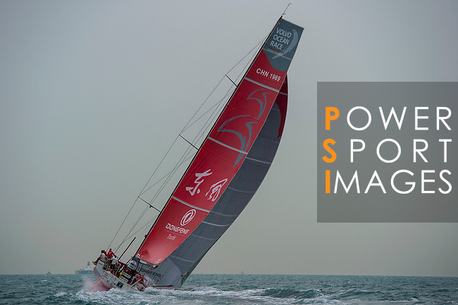 Dongfeng Race Team leaves the Malacca Strait and enters the Singapore Strait in first place, some 80nm ahead of nearest competitor Abu Dhabi Ocean Racing, during the Leg 3 Abu Dhabi to Sanya of the Volvo Ocean Race on 21th January 2015 in Singapore. Photo by Xaume Olleros / Power Sport Images