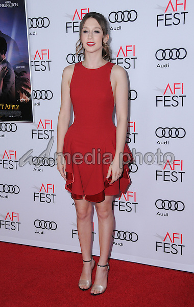 """10 November 2016 - Hollywood, California. Taissa Farmiga. AFI FEST 2016 - Opening Night Premiere Of """"Rules Don't Apply"""" held at TCL Chinese Theater. Photo Credit: Birdie Thompson/AdMedia"""
