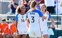 Cary, NC - Sunday October 22, 2017: Samantha Mewis celebrates her goal with Casey Short and Lindsey Horan during an International friendly match between the Women's National teams of the United States (USA) and South Korea (KOR) at Sahlen's Stadium at WakeMed Soccer Park.