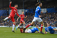 Conor Wilkinson of Gillingham left watches his shot hit the back of the net for the equalising goal to make the score 1-1 during Portsmouth vs Gillingham, Sky Bet EFL League 1 Football at Fratton Park on 10th March 2018