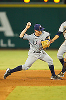 Nolan Fontana #4 (Florida) of the USA Baseball Collegiate National Team turns a double play against the USA 18u National Team at the USA Baseball National Training Center on July 2, 2011 in Cary, North Carolina.  The College National Team defeated the 18u team 8-1.  Brian Westerholt / Four Seam Images