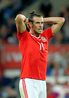 Gareth Bale of Wales shows his disappointment during the FIFA World Cup Qualifier Group D match between Wales and Austria at The Cardiff City Stadium, Cardiff, Wales, UK. Saturday 02 September 2017