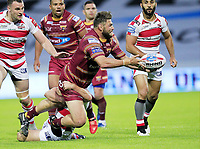 Picture by Chris Mangnall/SWpix.com - 14/07/2017 - Rugby League - Betfred Super League - Huddersfield Giants v Leigh Centurions - John Smith's Stadium, Huddersfield, England -<br /> Huddersfield's Shannon Wakeman   tackled by Leighs Daniel Mortimer