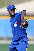 Toronto Blue Jays pitcher Adonis Cardona participates in pitcher fundamental practice during minor league practice at the Englebert Minor League Complex on February 27, 2012 in Dunedin, Florida.  Cardona signed for a record 2.8 million out of Venezuela at 16 years old in 2010.  (Mike Janes/Four Seam Images)