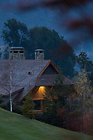 Evening view of Llao Llao Hotel situated on hill in San Carlos de Bariloche, Rio Negro, Argentina