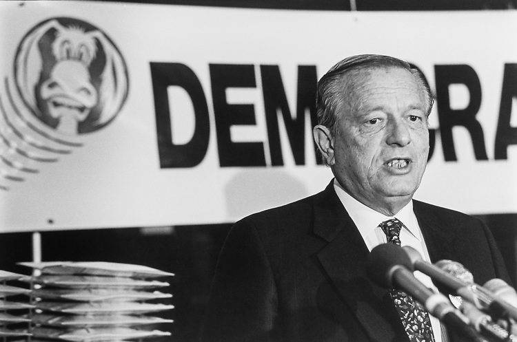Rep. Guy Vander Jagt, R-Mich., at a press conference on March 20, 1992. (Photo by Chris Ayers/CQ Roll Call)