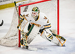 10 February 2017: University of Vermont Catamount Goaltender Stefanos Lekkas, a Freshman from Elburn, IL, in third period action against the University of New Hampshire Wildcats at Gutterson Fieldhouse in Burlington, Vermont. The Catamounts fell to the Wildcats 4-2 in the first game of their 2-game Hockey East Series. Mandatory Credit: Ed Wolfstein Photo *** RAW (NEF) Image File Available ***