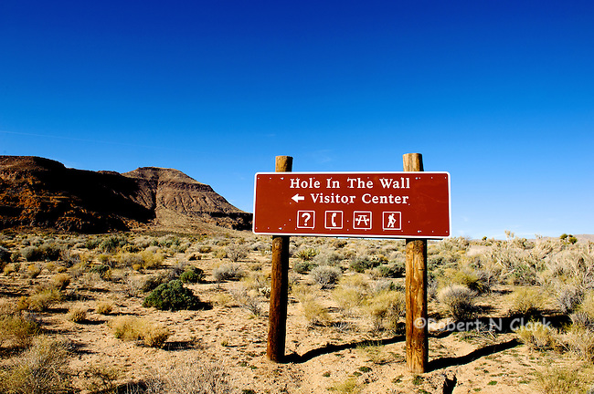 Sign for the Hole In The Wall Campground in the East Mojave National Preserve