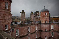 A view from the ramparts towards one of the pinnacled towers of Drumlanrig