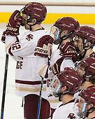 Mike Booth (BC - 12), Michael Kim (BC - 4) - The visiting Boston University Terriers defeated the Boston College Eagles 3-0 on Monday, January 16, 2017, at Kelley Rink in Conte Forum in Chestnut Hill, Massachusetts.