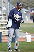 Orlando Hudson #1 of the San Diego Padres participates in spring training workouts at the Peoria Sports Complex on February 27, 2011  in Peoria, Arizona. .Photo by:  Bill Mitchell/Four Seam Images.